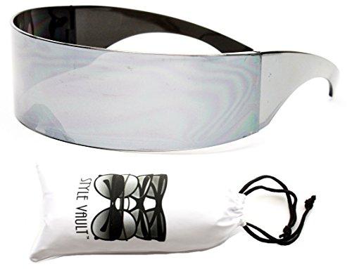 V138-vp Robocop Robot Rimless Party Sunglasses (1521M Silver-mirrored, - Robot Sunglasses
