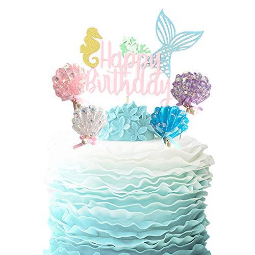 Mermaid Cake Topper Happy Birthday Cake Picks Glitter Shell Cupcake Topper Mermaid Cake Decoration for Mermaid Baby Shower Birthday Party Supplies