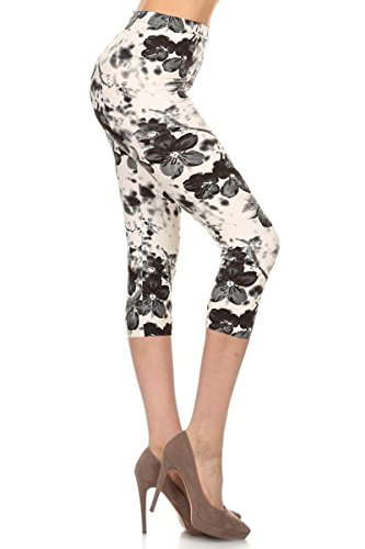 - R657-CA-PLUS Floral Infusion Capri Print Leggings, Plus Size
