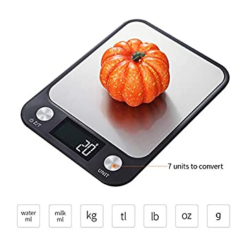 LKW Báscula de Cocina Digital de Acero Inoxidable, 10 kg 1 g ...