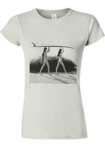 重々しい非難する障害Surf Ladies Summer Holiday Novelty White Women T Shirt Top-XL