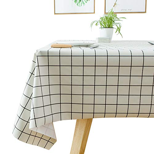 JZY Heavy Duty Vinyl Table Cloth for Kitchen Dining Table Wipeable PVC Tablecloth for Rectangle Table (54'' x 72'', White Plaid) (Tablecloth Linen Oilcloth)