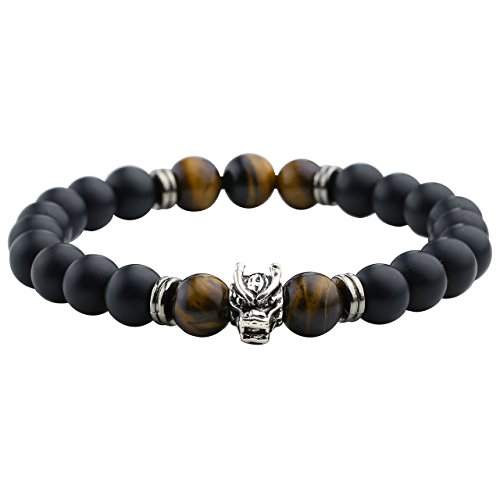 JOVIVI Unisex 8mm Dragon Head Agate Tiger Eye Stone Bracelet