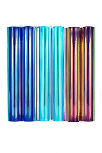 6-Pack of Opal Holographic Vinyl Sheets (Blue, Pink and White) - 12