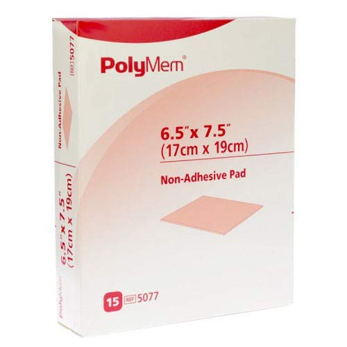 PolyMem Non-Adhesive Wound Dressing, Sterile, Foam, 6.5' X 7.5' Pad, 5077 (Box of 15)