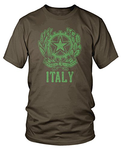 Amdesco Men's Italian Coat of Arms, Coat of Arms of Italy T-shirt, Dark Chocolate Large - Italian Coat Of Arms