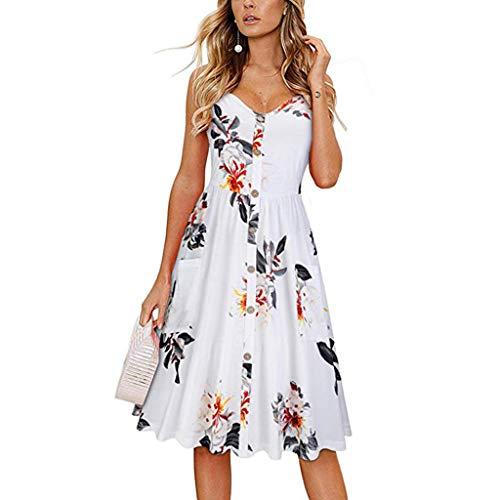 Ruhiku GW Women's Dresses Summer Casual Spaghetti Strap Button Down Swing Midi Dress with Pockets Beach Wear (White& Printing, ()