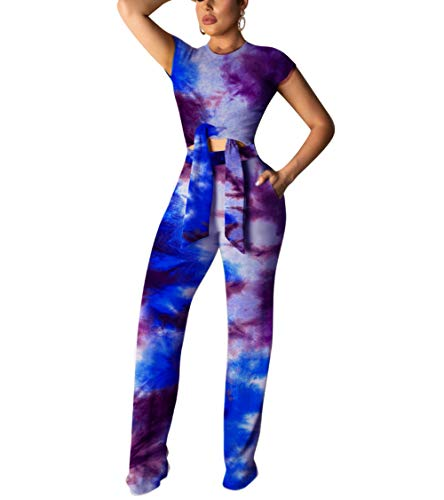 Womens Geometric Printed Short Sleeve Crop Top Long Pants 2 Piece Outfits Jumpsuit
