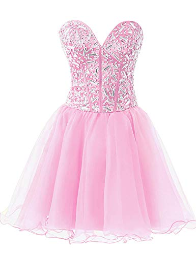 (Sarahbridal Juniors Crystal Beaded Homecoming Cocktial Dress Short Strapless Sweetheart Party Prom Gowns Pink)
