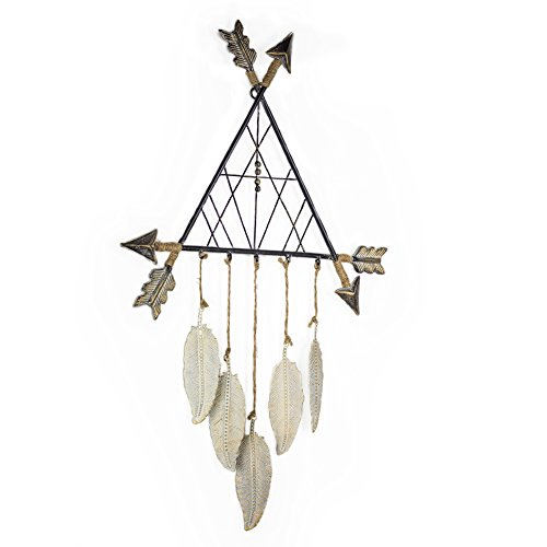 American Art Decor Metal Arrows Tee Pee Dreamcatcher with Feathers Farmhouse Wall Art Decor -