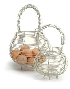 Cesta para huevos pequeña de alambre