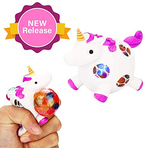 Squishy Unicorn Anti-Stress Ball - Squeeze Sensory Stretch Fidget Emoji Toy for Girls Kids Toddlers - Mesh DNA Grape Ball 4 Brain Stimulation Concentration Relief ADHD Autism Theme Party Gag - Pink. (Toy Sensory Ball)