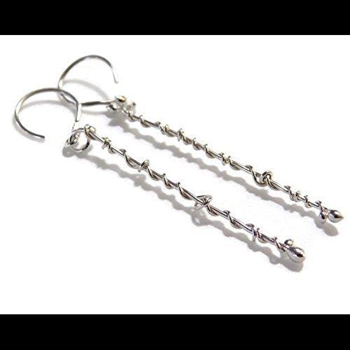vine earrings long bar line stick earrings fine 999 sterling silver Vine Designs Bar