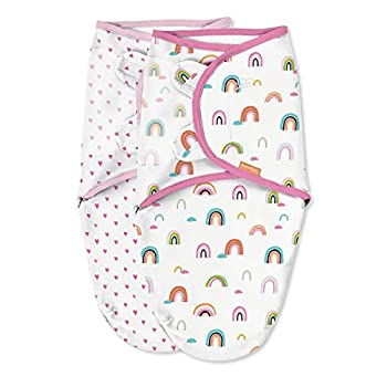 SwaddleMe Unique Natural Swaddle – Dimension Small/Medium, 0-3 Months, 2-Pack (Chasing Rainbows)