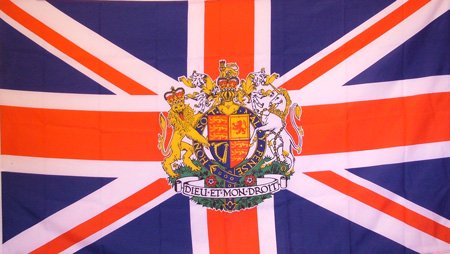 British Union Jack with Royal Coat of Arms Flag