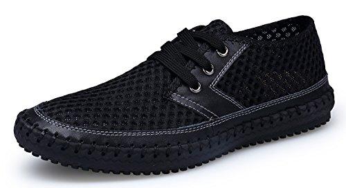 Herobest Männer Mesh Wasser Schuhe Outdoor Leichte Quick Dry Wanderschuhe Schwarz