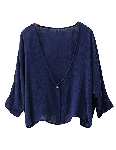 IDEALSANXUN Womens Cotton Linen Loose Short Cardigan Shrug (Navy)