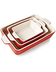 SWEEJAR Ceramic Bakeware Set, Rectangular Baking Dish Lasagna Pans for Cooking, Kitchen, Cake Dinner, Banquet and Daily Use, 11.8 x 7.8 x 2.75 Inches of Baking Pans (Red)