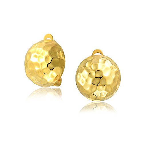 Hammered Dome Ball Clip On Button Earrings For Women 14K Gold Plated 925 Silver With Brass Clip Non Pierced Ears