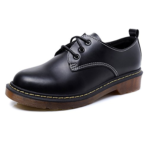 Smilun Girl¡¯s Derby Classic Lace-up Shoes Smooth Leather Flats Office Business Dress Shoes for Girl Black Size 6 B(M) US by Smilun (Image #1)