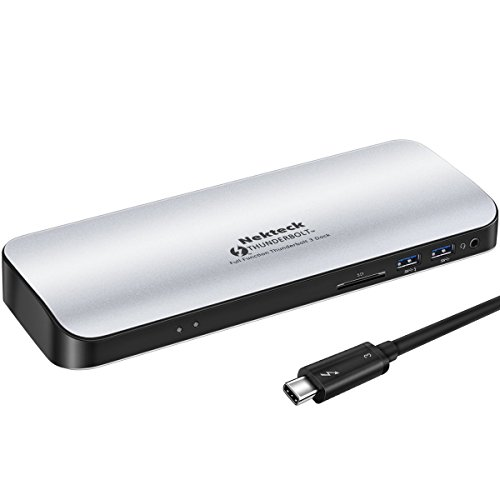 [Thunderbolt Certified] Nekteck Thunderbolt 3 PD Docking Station, Supports 4K HD Display, 60W Power Delivery, 4K HDMI2.0@60Hz, 5 USB 3.0 ports, for MackBook Pro Late 2016/2017 & Specific Windows/macOS
