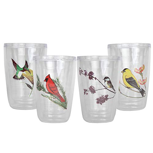 Trenton Gifts Break Resistant Insulated Tumblers With Colorful Bird Motif | Set of 4