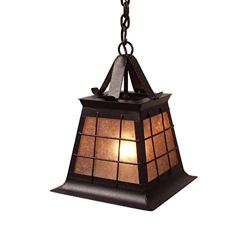 (Steel Partners Lighting 2181-P-Sm-MB TOPRIDGE Pendant with Amber Mica Lens, Mountain Brown Finish, Small)
