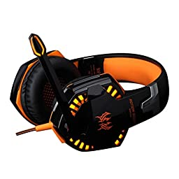 VersionTech Comfortable Stereo Gaming Headset Over-Ear Headphones with Microphone, LED lights, Volume Control for Mac PC Computer Game(incompatible with PS3 PS4 Xbox one Xbox 360) - Orange
