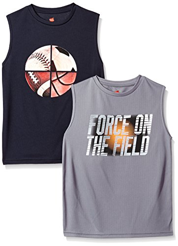 Hanes Boys' Big Sport Sleeveless Graphic Performance Tee (Pack of 2), Navy/Unlimited/Concrete/Force On The Field, - Boys Tee Sleeveless