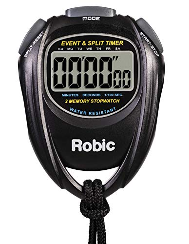 Robic Easy to Use, High Precision Stopwatch Water Resistant 2 Memory Stopwatch, Black