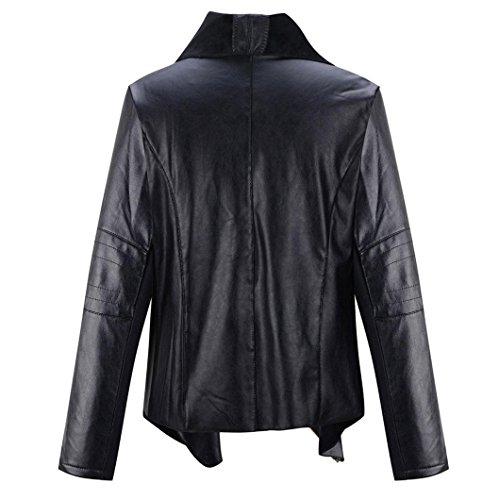 Negro Abrigo Vovotrade®® La Solapa De Punk Mujeres Del Chaqueta Cuero Las AwnBRwxv