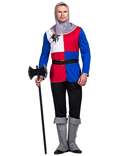 EraSpooky Mens Medieval Knight Adult Halloween Costume,