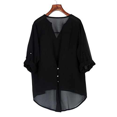 Tops Chiffon YUMM Shirt Top Casuale T Camicetta Ladies Camicia Donna Nero wZxgx7qH