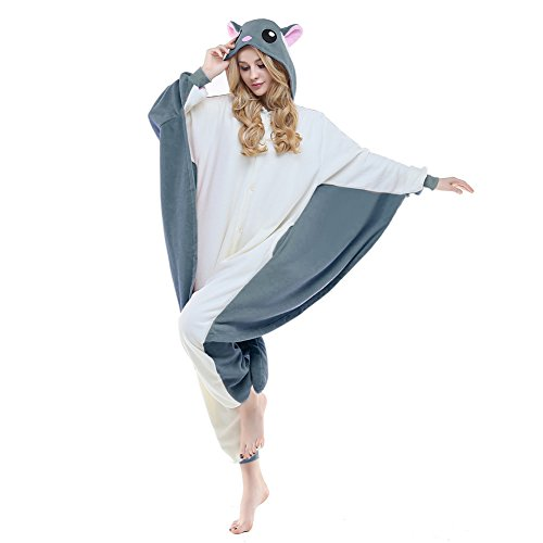 NEWCOSPLAY Adult Unisex Flying Squirrel Onesie Pajama Costume (S, Gray Flying Squirrel)