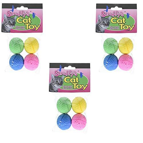 - Boss Pet 04467 Scruff's Colorful Kitty Springy Foam Sponge Balls, 4/Pack, 3 Pack