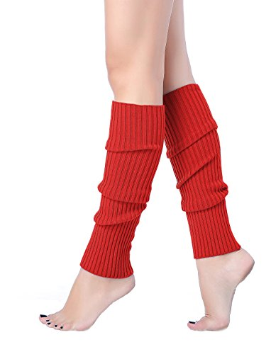 V28 Women Juniors 80s Eighty's Ribbed Leg Warmers for Party Sports (Red)]()
