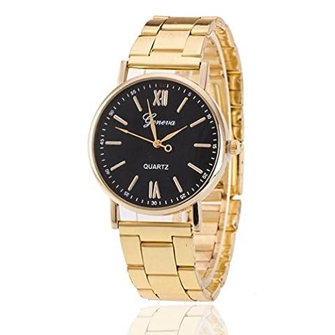 Womens Roman Numerals Quartz Stainless Steel Wrist Watch (Black) (Geneva Watches Men Gold)