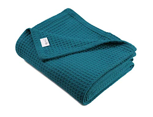 100%Soft 102x90 King Teal Season Blanket,Breathable Blanket,Light Blanket,Perfect for Layering