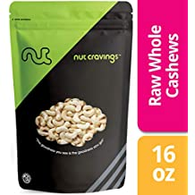Nut Cravings Raw Whole Cashews – Fresh, Unsalted, Unroasted Cashews – 16 Ounce