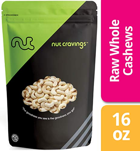 (Nut Cravings Raw Whole Cashews – Fresh, Unsalted, Unroasted Cashews – 16 Ounce)