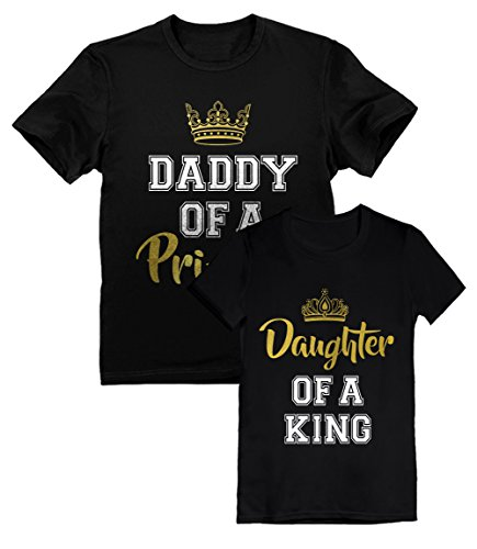 Father & Daughter Matching Set Father's Day Gift Dad & Toddler Girl T-Shirts Daddy Black Medium/Daughter Black 4T -