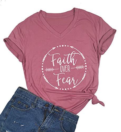 Faith Over Fear Arrow Letters Print T Shirt Women Short Sleeve V Nece Christian Tops Tee Blouse (Small, -