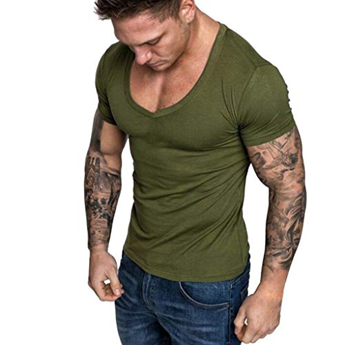 Men's T-Shirts Casual Slim Fit Short Sleeve V Neck Solid Color Sexy Shirt Top Blouse (XXL, Green)
