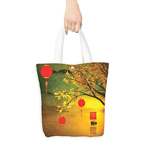 (Grocery Bag Lantern Decor Traditional Chinese Lanterns Hanging from Pale Fall Trees over the Lake Faded Nature Photo Multi (W15.75 x L17.71 Inch))