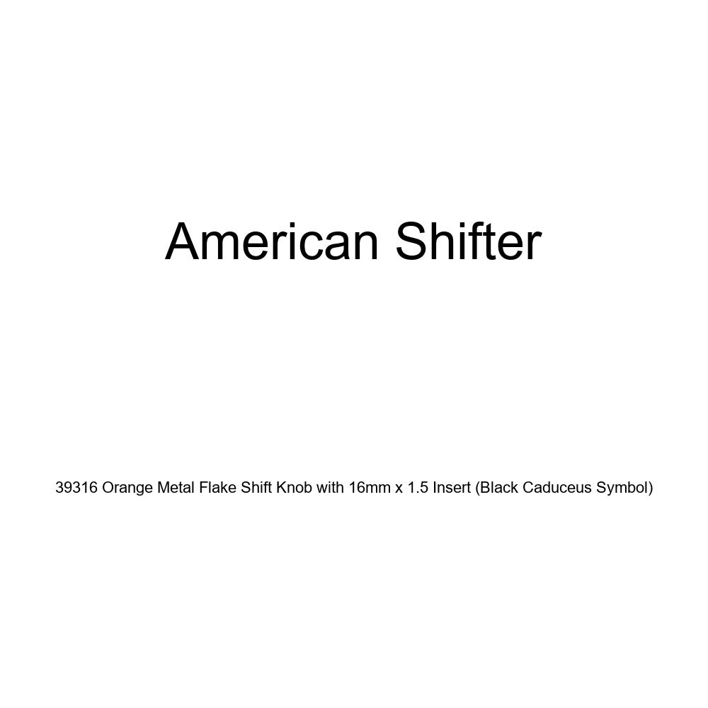 American Shifter 39316 Orange Metal Flake Shift Knob with 16mm x 1.5 Insert Black Caduceus Symbol