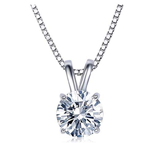- Weishu 18K White Gold Plated Cubic Zirconia Diamond Necklace Women's 2 Carat CZ Solitaire Pendant Necklace