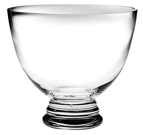 Barski Handmade Glass Round Footed Bowl, Clear, , 8.5''D (8.5 Inches Diameter) , Superb Quality, Made in Europe