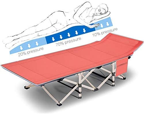Vanell 6.2FT Folding Camping Cot 25mm Square Tube Portable Folding Beach Bed 390 LBS Weight Bearing Office Comfortable Sleeping Bed