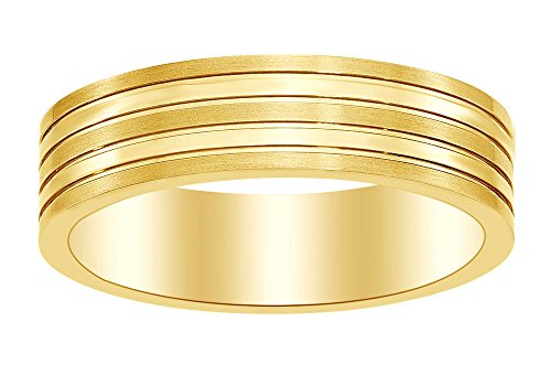 Satin Band Sterling Silver Ring (8mm Grooved Ridged Edge Satin & Polished Band Ring in 14k Yellow Gold Over Sterling Silver Ring Size - 9)