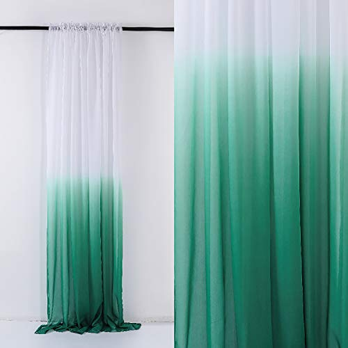 - Selectex Linen Look Ombre Sheer Curtains - Rod Pocket Voile Curtains for Living and Bedroom, Set of 2 Curtain Panels (52 x 95 inch, Ombre-Teal Green)